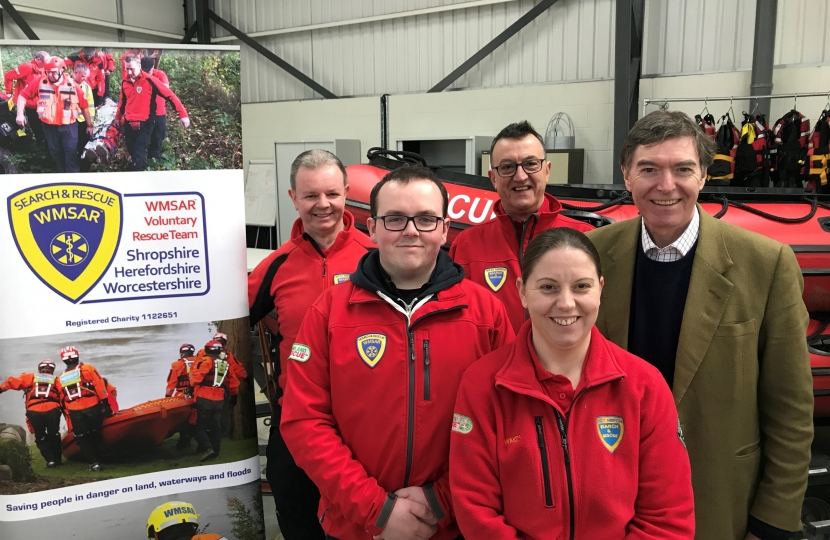 Philip Dunne MP with Bridgnorth Search & Rescue Team (L to R) Graham Thomas, Sam Bennett, Andy Neal, and Vanda Passmore